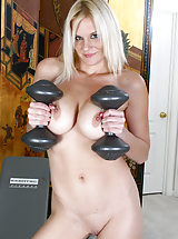 hot pussy, Chesty blonde MILF Slovanna pumps iron in these smoking hot pics